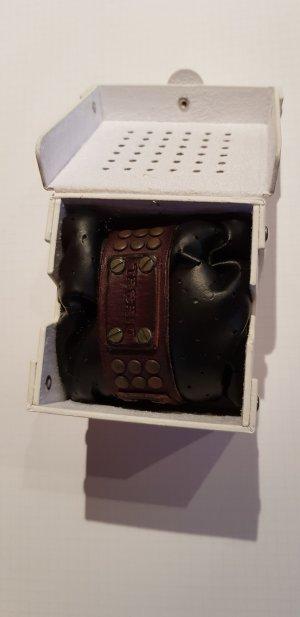 Diesel Bracelet en cuir brun foncé
