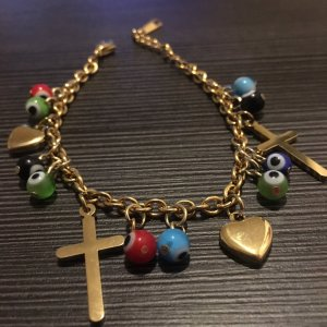 Armband Bettelarmband Herz Kreuz schützende Auge gold aus Edelstahl
