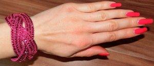 Armband Bijou Brigitte pink fuchsia Leder Strass