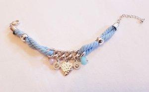 Armband Blau Rosa Glitzer Weiss Silber Farben Herz neu