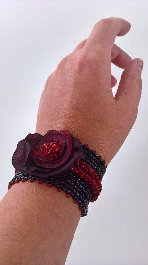 Armband, Brasselett, Handgemacht, Schmuck, Einzelstück, bordeaux, schwarz, rot