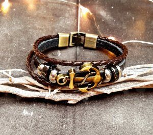 Leather Bracelet bronze-colored-dark brown