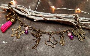 Armband bronze Fee lila rosa Charm Perle neu Tinkerbell