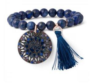 Armband elastisch Lapis Lazuli Perlen Blau