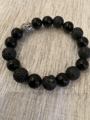 Armband elastisch mit Budda Lava und Onyx Perlen