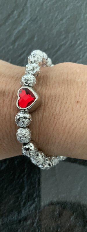 Bracciale di perle argento-rosso