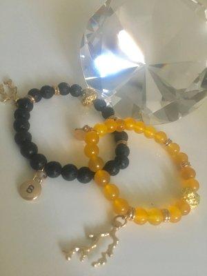 Armband flex Lava Perlen Anhänger Initialen individuell anpassbar