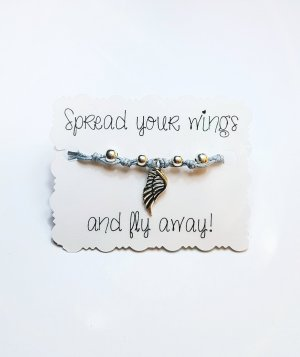 "Armband ""Fly away"" neu diy silber blau grau handgemacht Flügel"