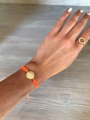 Armband gold/ orange (neon) Makramee