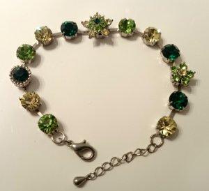 Armband grün gelb Blüten silber wie NEU