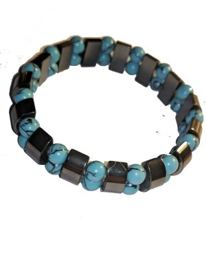 Armband Hämatit und Türkise Steine