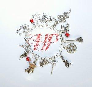 """Armband """"Harry Potter"""" neu diy handgemacht rot Perlen silber Charms Damen Bettelarmband"""