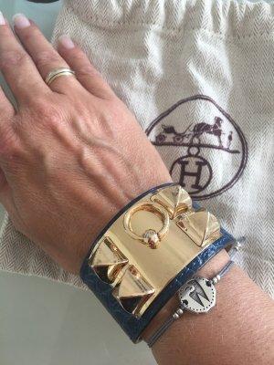 Lederen armband donkerblauw
