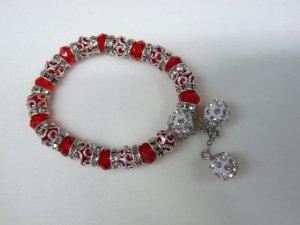 Pearl Bracelet red-light grey mixture fibre