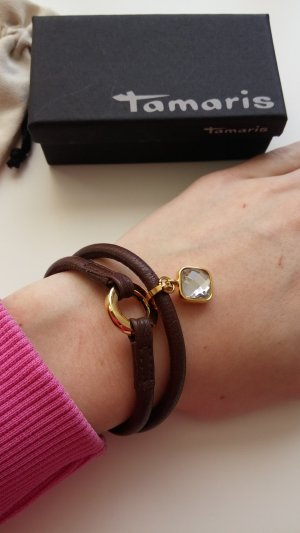 Tamaris Bracelet brown-gold-colored leather
