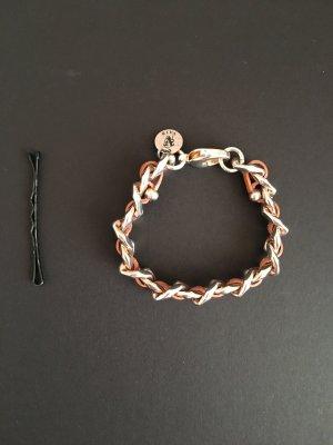 Bracelet light grey-cognac-coloured
