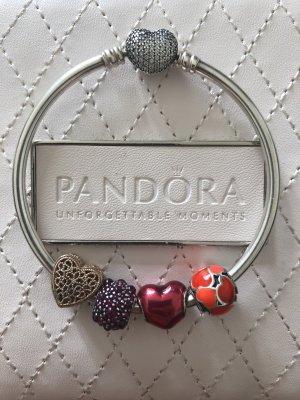 Pandora Braccialetto sottile rosso scuro-argento