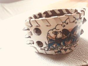 Bracelet en cuir blanc-bleu azur