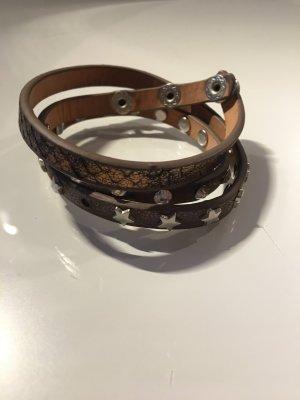 Armband Leder braun Nieten Steine