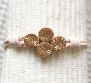 Armband Leder neu Swarovski cream blogger Luxus trend