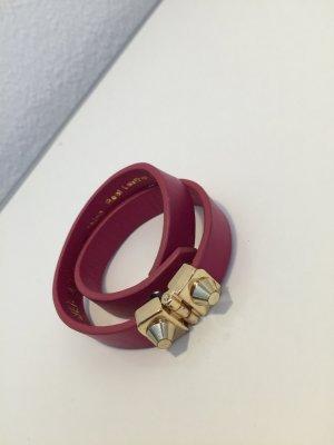 Armband Leder Pink Wickelarmband Hallhuber goldene Schließe