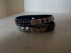 Armband Leder schwarz Nieten Steinchen neu