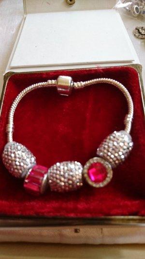 Armband mit 5 Beads 19 cm lang /glitzer /violet Swarovski Steine