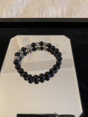 Armband mit Buddha schwarz silber elastisch neu