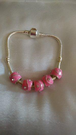 no name Pulsera color plata-rosa