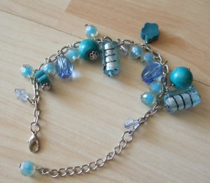 Charm Bracelet silver-colored-neon blue