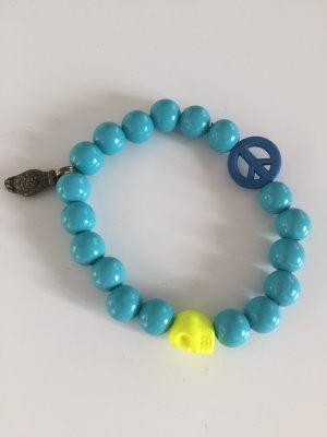 Armband mit Holzperlen Skull in Neongelb Peace Zeichen und Buddha Anhänger neu!