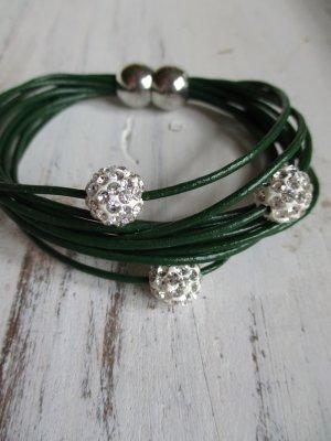 Leather Bracelet dark green leather
