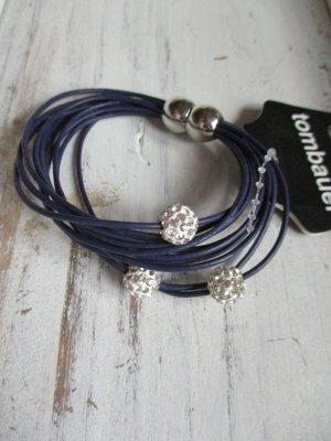 Armband mit Magnetverschluss und beweglichen Strasskugeln echt Leder Lila Neu