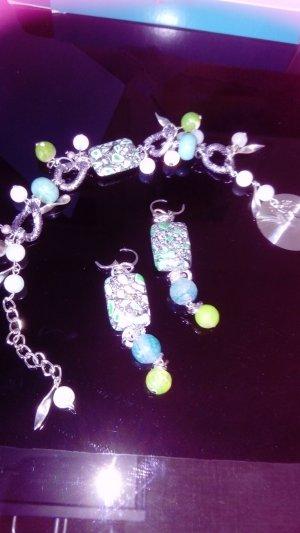 Armband mit Ohrringe aus Natur Steinen