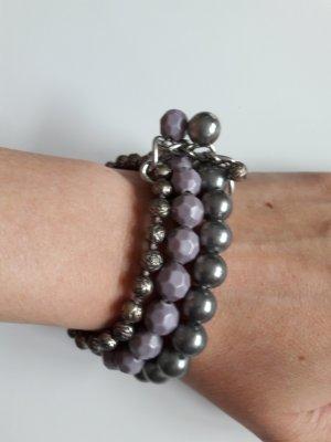 Armband mit Perlen silber lila graugrün
