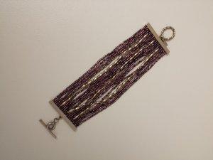 Armband mit Perlen von Mexx lila und silberfarben
