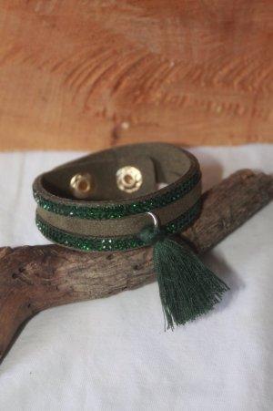 Bracelet brun-vert forêt