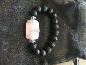 Armband mit Rosenquarz ,Bergkristall und schwarzen Perlen
