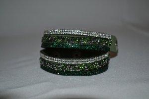 Armband mit Strass Silber Dunkelgrün Grün Gr. S/M