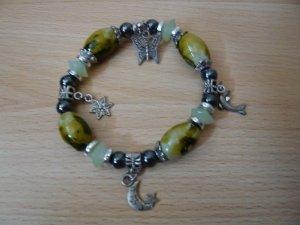 Armband, Modeschmuck, No Name, oliv/schwarz/silber, neu