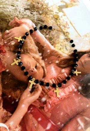 Bracciale di perle nero-oro