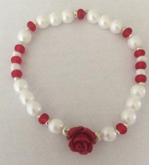 Armband *NEU* Rose Perlen rot weiß Silber