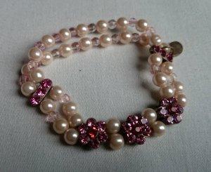 Armband Perlen pink rosa Blümchen