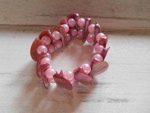 Armband Perlen und Muschel  Rosa