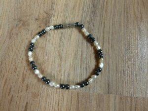 Armband Perlenarmband weiß grau