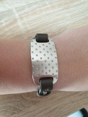 Pierre Lang Bracelet en cuir argenté
