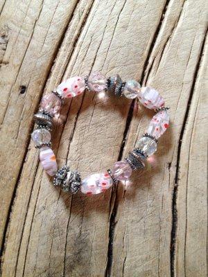 Armband rosa Glas Strass Silber