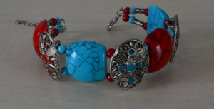 Armband, rot-türkis-silber (versilbert)