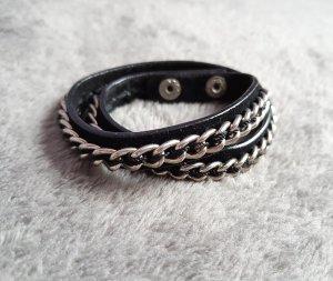 Vero Moda Leather Bracelet black-silver-colored leather