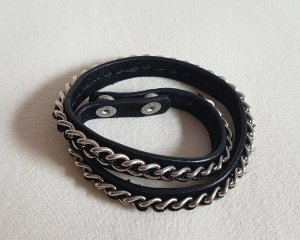 Armband Schwarz Leder Kette geflochten Silber Drucknöpfe Vero Moda
